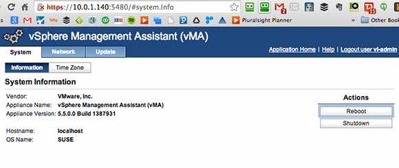 vMware vMA 5.5的Web管理界面
