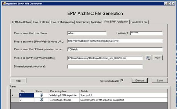 Oracle EPMA file generation