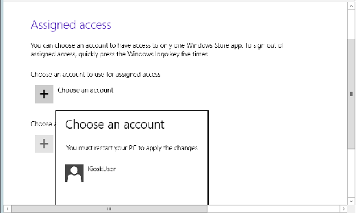 Choose an account for assigning users in Windows 8.1 Assigned Access.