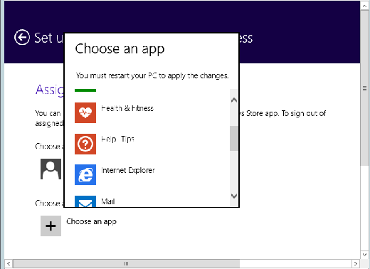 Choose an app to assign to a particular Windows 8.1 user.