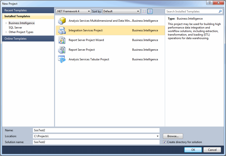SQL Server Data Tools 2012 new project dialog box