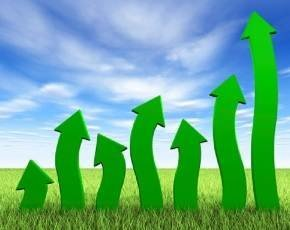 Wiggly green arrows in a field