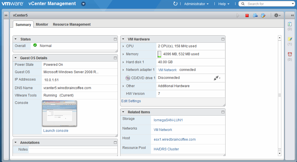 A look at the VMware vSphere 5 Web Client.