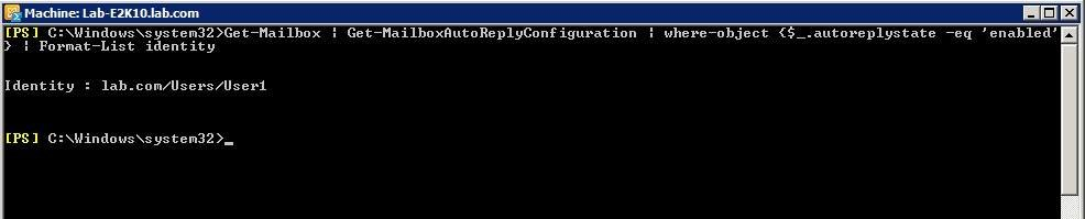 User PowerShell to determine which users have auto-replies enabled.
