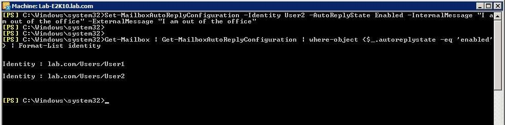 Enable automatic replies for users with PowerShell.