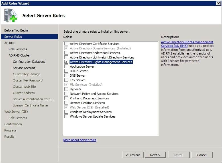 Rights management services deployed as a Windows Server role