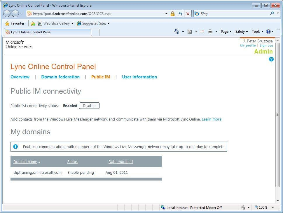 Configure instant messaging in Lync Online.