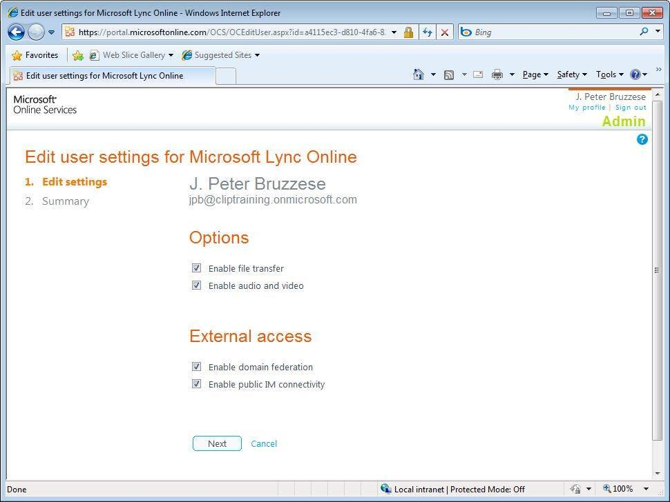 Edit Lync Online user settings.