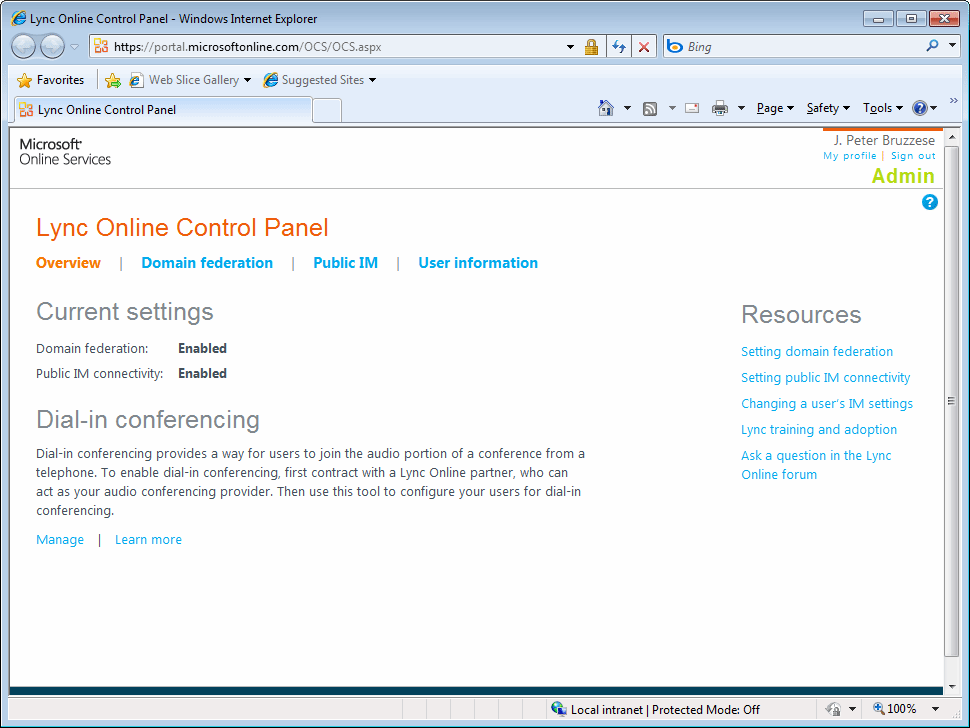 Starting out with Lync Online's admin interface.