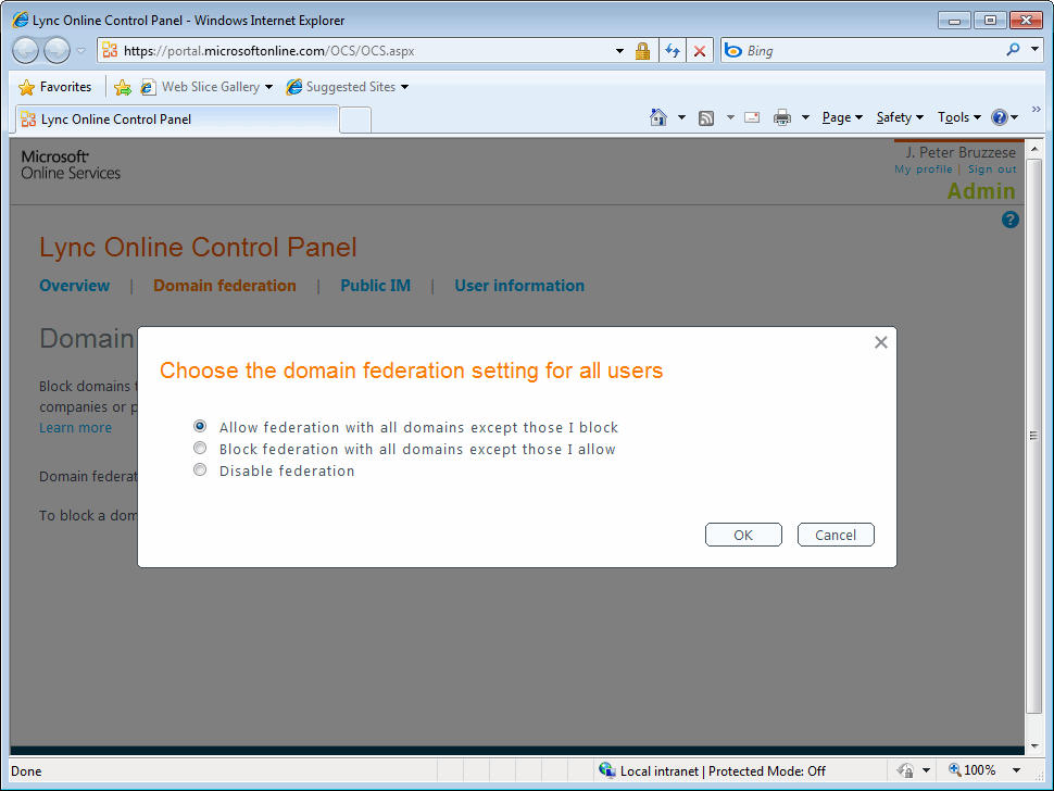 Configure federation in Lync Online.