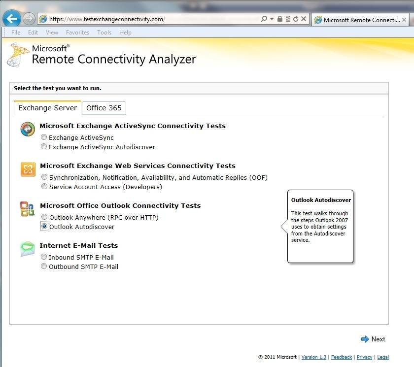 You can use the Remote Connectivity Analyzer to diagnose Autodiscover problems.