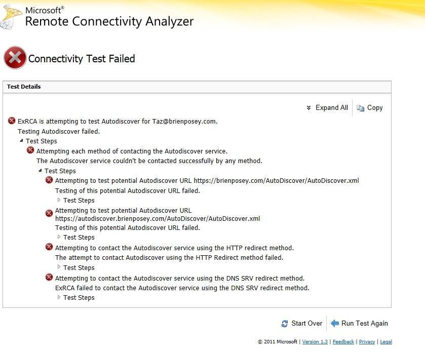 The Remote Connectivity Analyzer will attempt to contact the Autodiscover service.