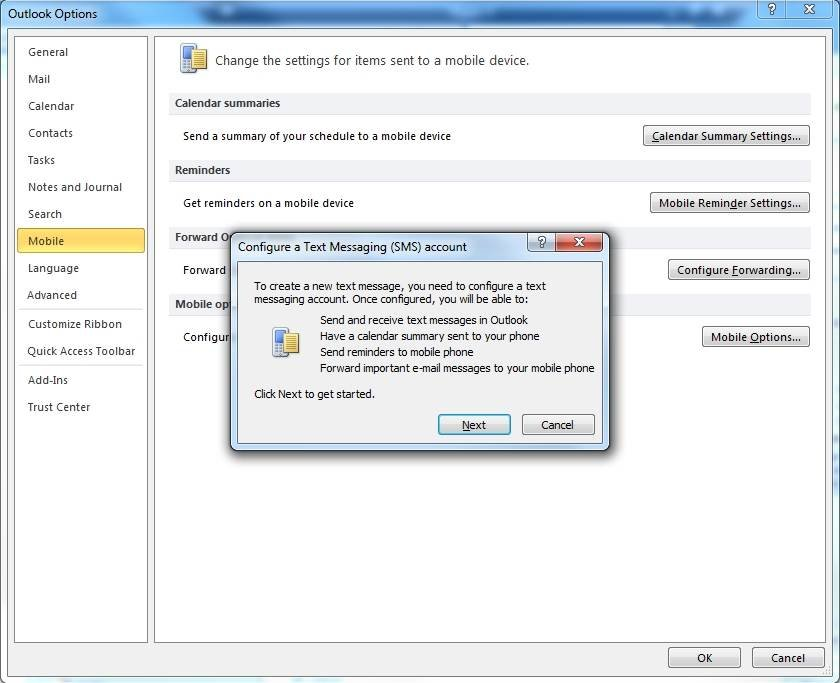 Configure text messaging in Outlook 2010.