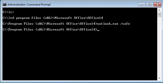 Launch Outlook 2010 in safe mode.