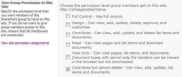 Assign a SharePoint 2010 permission level to the group.