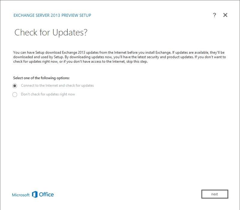 Check for Setup updates before installing Exchange 2013 Preview.