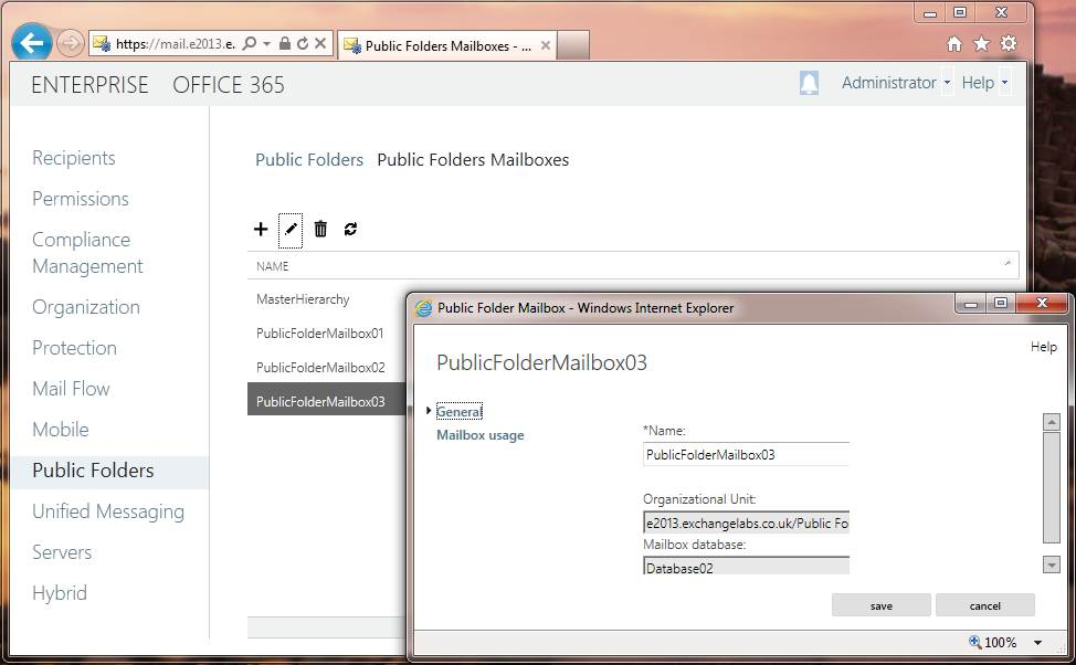 Public folder databases in the EAC