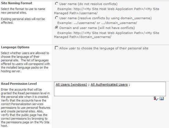 Configure the Site Naming Format, Languages and Permission Levels in SharePoint 2010.