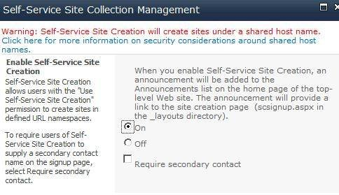 Enable self-service site creation in SharePoint 2010.