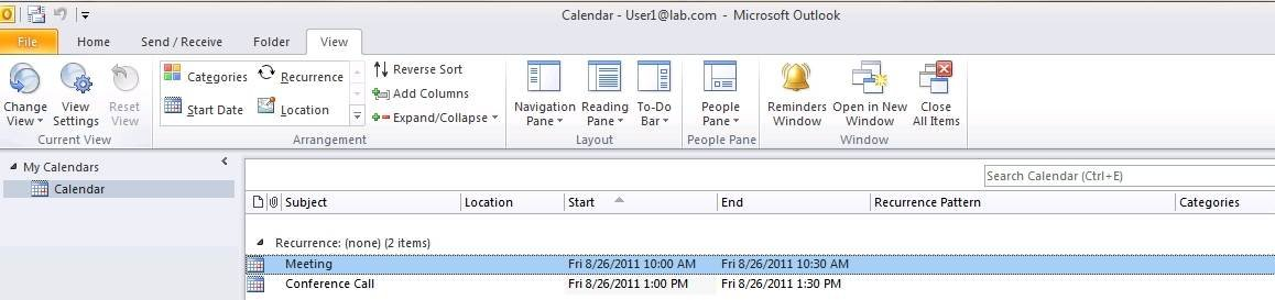 Find the corrupt meeting appointment in Outlook 2010.