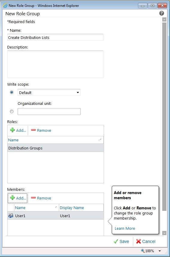 Give Exchange 2010 users the ability to create distribution groups.
