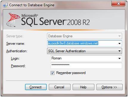 The SQL Azure connection portal