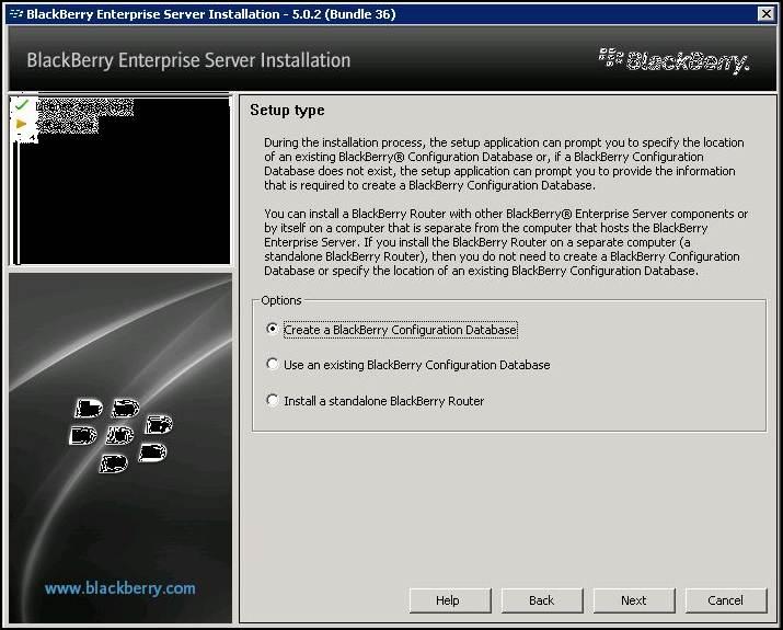 Create a BlackBerry Configuration Database.