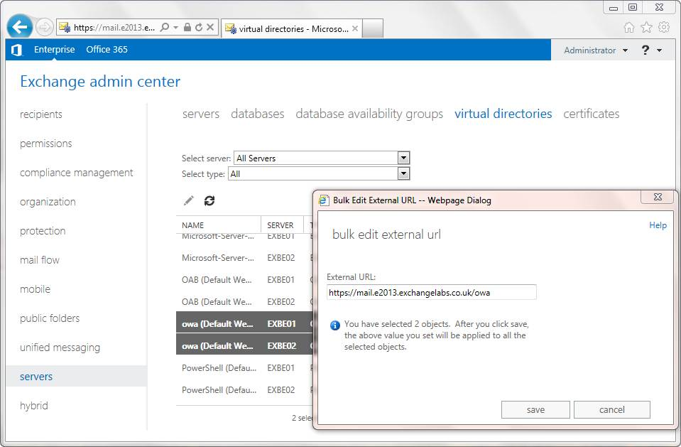 You can bulk edit virtual directory URLS in the EAC
