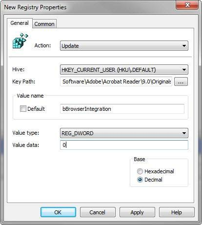 The New Registry Properties console