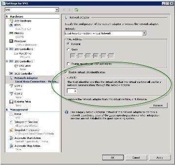 Editing the VLAN properties for Hyper-V virtual machines