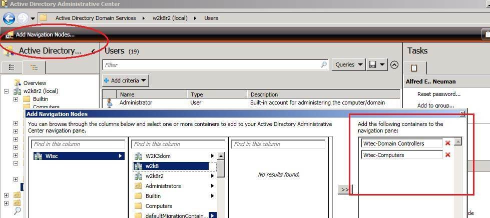 Adding navigation nodes in the AD Administrative Center