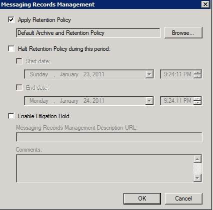 Place a retention policy on a mailbox through the Exchange Management Console.