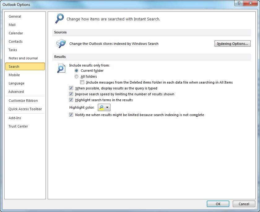 How to repair the outlook 2010 search index indexing options in outlook 2010 ccuart Choice Image