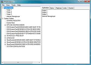 The PFDAVAdmin tool displays your public folder tree.