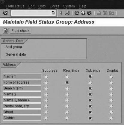 Some Fields Used to Configure Address Field Group