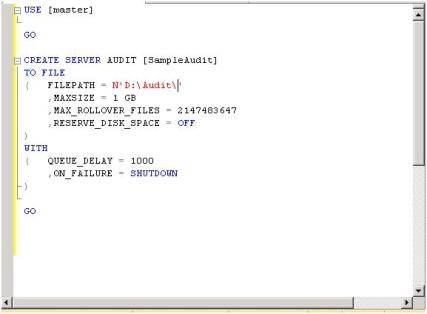 Creating an audit for multiple servers using T-SQL