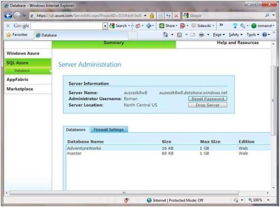 The SQL Azure Database portal