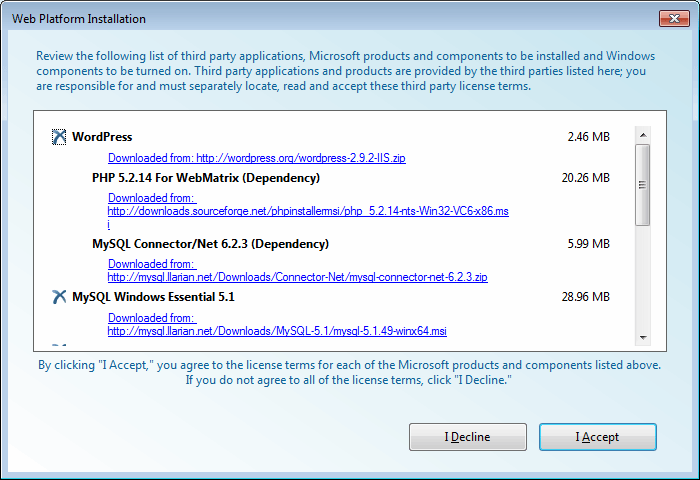 WebMatrix's installer adds third-party (non-Microsoft) packages to your site.