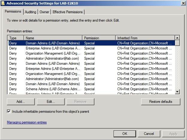 Enable inheritable permissions using ADSI edit.