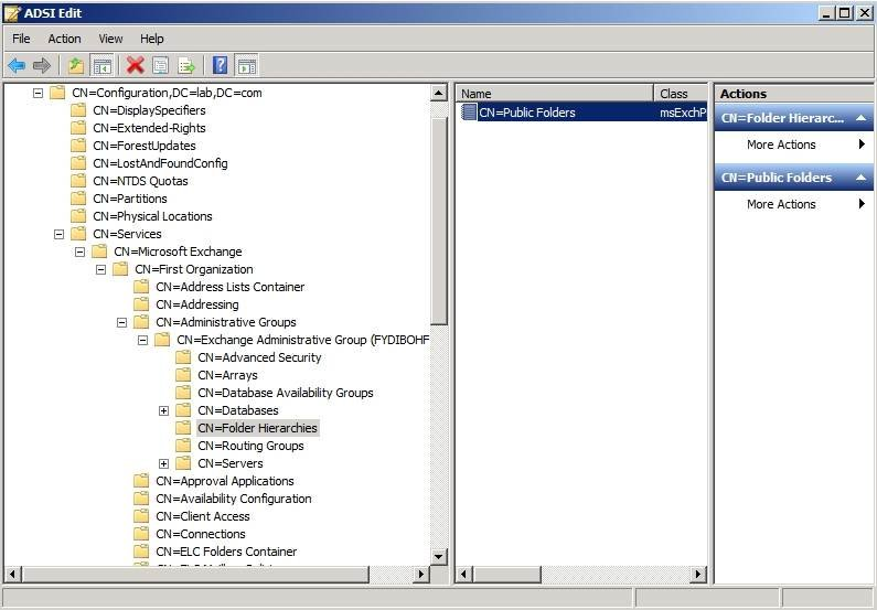 Enable inheritable permissions on public folders using ADSI edit.