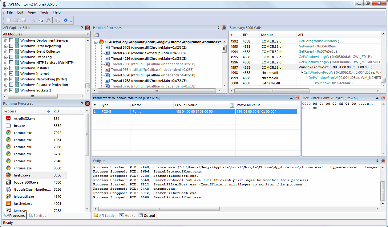 API Monitor hooking into an instance of Google Chrome and dumping properties from an invocation of the WindowFromPoint API in COMCTL32.DLL. Note the checkbox lists in the upper left, which tell API Monitor what APIs to hook into.