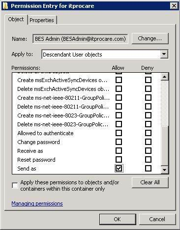 Apply Send-As permissions to all objects.