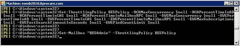 Use the Exchange Management Shell to set throttling policies.