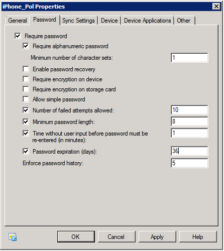 Activesync mailbox policies in Exchange 2010