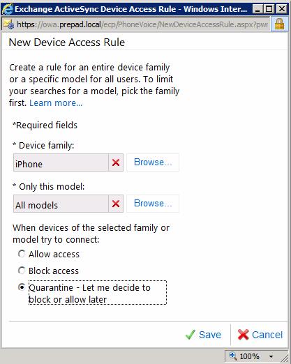 Configure Microsoft ActiveSync device access riles