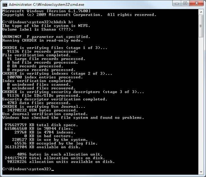How to run chkdsk utility windows 7