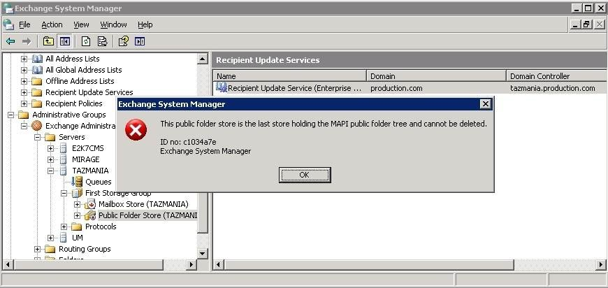 Exchange 2003 public folder store error message