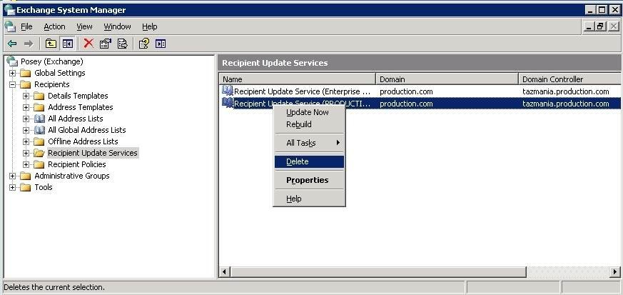 Delete the Exchange 2003 Recipient Update Services