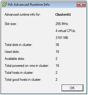 selecting advanced runtime info in vmware ha