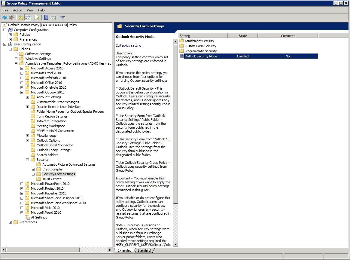 protecting outlook group policy security settings enable the outlook 2010 security mode setting